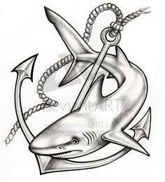 Shark with anchor
