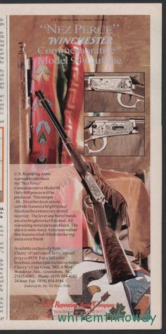1993 WINCHESTER Nez Perce Commemorative Model 94 Rifle PRINT AD Advedrtising