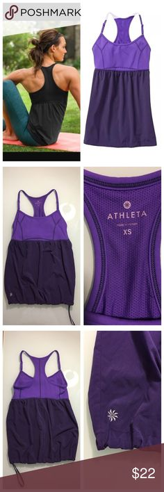NWOT Athleta Retreat Tank in Morning Glory Purple NWOT Athleta Retreat Tank in Morning Glory Purple. Size xs. New without tags. Measures 12 1/2 inches from underarm to underarm and 25 inches long. Adjustable straps. Built in support Athleta Tops