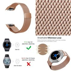 Watch Replacement Band For Samsung Gear Adjustable Milanese Steel Bracelet Samsung Gear S2 Classic, Stainless Steel Mesh, Watch Bands, Smart Watch, Watches, Bracelets, Smartwatch, Clocks, Clock