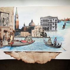 """Mixed Media Collage- """"Venice; Held Up By Heartstrings"""" by Christine Sheets (mrs.memorykeeper) -please re-pin with artist credit! #Venice #watercolor #painting #venetianmasks #vintagebooks #LPcover #goldthread #collage"""