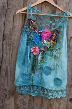 Aquarell top-- shabby chic, whimsy bohemian top, vintage reworked