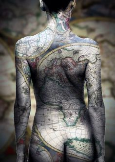 Funny pictures about Earth map tattoo. Oh, and cool pics about Earth map tattoo. Also, Earth map tattoo photos. Map Tattoos, Bild Tattoos, Sexy Tattoos, Body Art Tattoos, Cool Tattoos, Tatoos, Travel Tattoos, Awesome Tattoos, Insane Tattoos