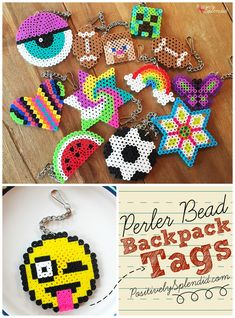 A craft for kids: Perler bead backpack tags made with Perler beads, chain, lanyard clips and jump rings. A great craft for kids of all ages, boys and girls. MichaelsMakers Positively Splendid