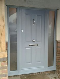 Not sure what composite door you want? Take a look at some of the beautiful comp. - Not sure what composite door you want? Take a look at some of the beautiful composite door installa - Grey Front Doors, Front Door Porch, Porch Doors, Front Porch Design, Front Door Entrance, House Front Door, Painted Front Doors, Front Door Colors, House Entrance