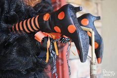 Witch Legs Halloween Wreath Decoration