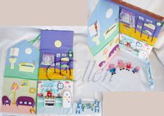 """Living Room. Characters with Velcro, sit on the sofa and chair. Lamp """"includes"""" and """"off"""" .clock on the wall can be changed.Developing a house with Peppa Pig"""