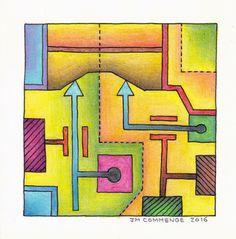 Dessin orginal au crayon sur Canson 10*10 signé JM Commenge Art Abstrait Pop Art