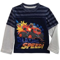 Toddler Boy Blaze and the Monster Machines Striped Mock-Layer Graphic Tee, Size: