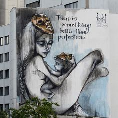 Street Art by Herakut in Frankfurt, Germany for The Giant Story Book Project | There is something better than perfection.