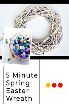 Quick outdoor Easter wreath Idea. Do you love decorating for Easter? Make an Easter wreath on a budget. This dollar store wreath proves all you need is a ribbon and pompoms to make a beautiful Easter decoration. #diy #easter #wreath Easter Table Decorations, Easter Decor, Easter Crafts, Dollar Store Crafts, Dollar Stores, Diy Couch, Pressed Flower Art, Diy Chandelier, Diy Door