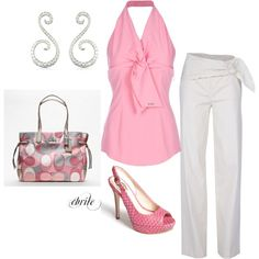 pink, white, and touch of gray, created by cbrile on Polyvore. Great look for lunch with girly girls!