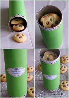 Decorate a Pringles can with pretty paper and ribbon, add homemade cookies.