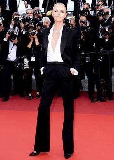 Charlize Theron Dior Couture Tuxedo Cannes