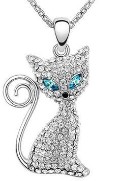 Blue Swarovski Crystals Sleek Siamese Cat Necklace