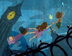 Flying Lessons Peter Pan Homage Art Print 5x7. $7.00, via Etsy.