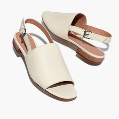 """Hello, perfect spring sandals—these leather open-toe flats have a slingback strap, calming any I-can't-walk-in-mules reservations. Cushiness alert: We've added an extra layer of padding to make them even easier on the feet. When you select your size, """"H"""" equals a half size. 1/2"""" heel.Leather upper and lining.Man-made sole.Import."""