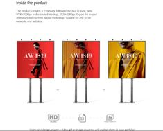 This is a cllection of the best free billboard mockup psd for the presentation of branding and advertising design in a realistic way. Professional Presentation, Professional Look, Brand Identity Design, Branding Design, Hd Gif, Billboard Mockup, Advertising Design, Promotional Design, Corporate Design