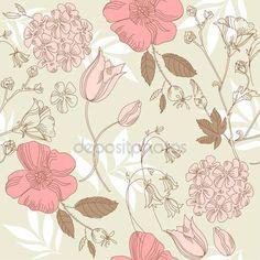 Скачать - Старинный цветочный образец — стоковая иллюстрация #33770759