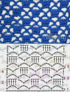 Ideas For Crochet Shawl Pattern Diagram Ideas Crochet Stitches Chart, Crochet Motifs, Crochet Diagram, Thread Crochet, Poncho Crochet, Easy Crochet, Free Crochet, Crochet Summer, Stitch Patterns