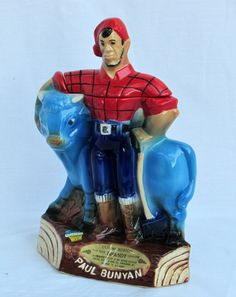 Paul Bunyan and Babe Decanter Liquor Bottle by DayJahView