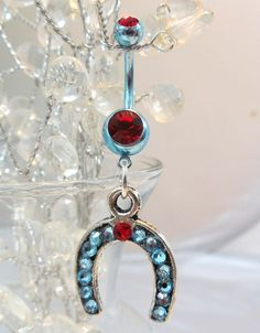 Belly ring, belly button ring with blue and red crystal horseshoe 14ga | YOUniqueDZigns - Jewelry on ArtFire