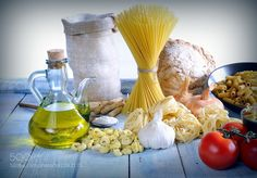 Pic: Still life of raw ingredients on blue wooden floor