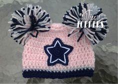 Crocheted Dallas Cowboys Hat Pink Grey Blue by TinyTippyToppers Tejidos 3ecc7f22a9b