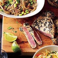 Sesame Tuna with Edamame and Soba  -  Choose buttery #albacore for #tuna that's high in omega 3s and low in mercury. Pole-and-line or troll-caught domestic Pacific fish are best. Grill it and serve with a nutty soba salad from MyRecipes.com! Found at www.edamam.com.