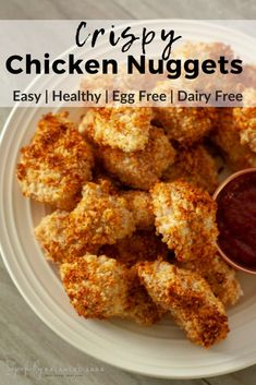This crispy chicken nuggets recipe is so easy, healthy and delicious. They are so flavorful and perfectly crispy, egg free, and dairy free. Healthy Chicken Nuggets, Chicken Nugget Recipes, Crispy Chicken, Homemade Chicken Nuggets, Egg Free Recipes, Healthy Recipes, Kid Recipes, Healthy Cooking, Yummy Recipes