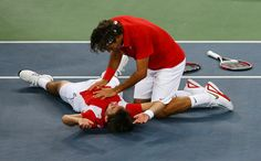 Still the greatest Olympics celebration of all-time. #Federer #Wawrinka #Switzerland