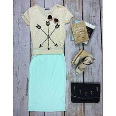 Mint and cream is so chic! And this graphic t-shirt paired with a Cassie skirt keeps it super casual.