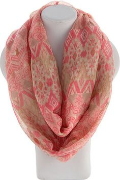 """AZTEC PRINT INFINITY SCARF - Pink $8 Will ship tomorrow.  View all 57 different styles in stock by LIKING the Dakota Jackson Boutique FB pg.  clicking """"SHOP HERE"""" tab on left of pg.  MOBILE USERS: To purchase, use the """"SHOP NOW"""" mobile link pinned to top of our timeline."""