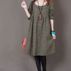 Floral Print cotton dress long sleeve dress linen dress casual cotton shirt maternity dress large dress cotton blouse plus size dress-Yellow