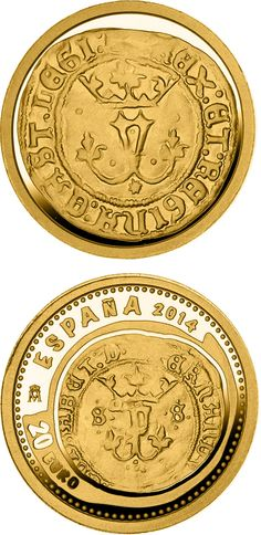 N♡T.20 euro: 5th Series Numismatic Treasures: Queen Isabella.Country:Spain  Mintage year:2014 Issue date:01.04.2014 Face value:20 euro Diameter:13.92 mm Weight:1.24 g Alloy:Gold Quality:Proof Mintage:10,000 pc proof