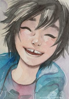 wayofbrush:I've seen Big Hero 6 this week and I just LOVED the movie! I just wanted to paint smiling Hiro so I made this little ACEO! Also….watercolours! <3