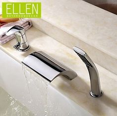 101.15$  Watch here - http://alinpl.worldwells.pw/go.php?t=1958161468 - Deck mount bathtub tap waterfall faucet with hand shower three hole for roman tub 101.15$