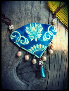 Delft Blue Recycled Tin Necklace by SaffronCreations on Etsy, $62.00