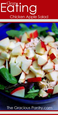 Chicken Apple Salad. 1 chicken breast, baked with whatever herbs you like best2 cups lettuce (I prefer spring mix)1 small apple2 tablespoons vinaigrette Add some nuts, mandarin oranges