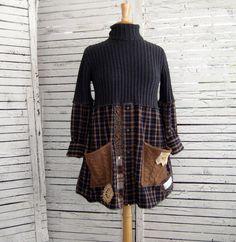 Upcycled Tunic S/M Sweater Tunic Upcycled Clothing Recycled