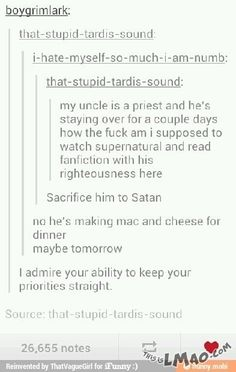Hahaha, OMG look at this Priorities