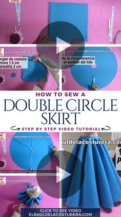 How to cut and make a double circular skirt? Diy Circle Skirt, Circle Skirt Tutorial, Circle Skirt Pattern, Kids Dress Patterns, Skirt Patterns Sewing, Clothing Patterns, Fashion Sewing, Diy Fashion, Sewing Clothes