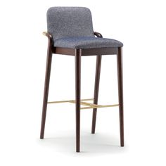 Grace 074 SG - Barstool with solid wood frame, available in a range of finishes with stylish arm detail in stainless steel, brass or black. Upholstered seat and back in fabric, leather or faux leather. Furniture Upholstery, Accent Furniture, New Furniture, Furniture Design, Bar Chairs, Bar Stools, Dining Chairs, Kitchen Island Bar, Kitchen Tables