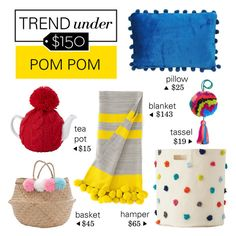 """""""Trend Under $150: Pom Pom"""" by polyvore-editorial ❤ liked on Polyvore featuring interior, interiors, interior design, home, home decor, interior decorating, Pier 1 Imports, Olli Ella, petit pehr and pompom"""
