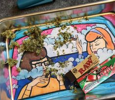 Grinders and Trays for Girls Scooby doo themed rolling tray featuring two baddies Velma and Daphne Lesbian Art, Pipes And Bongs, American Gothic, Smoking Accessories, Le Moulin, Box Design, Vinyl Decals, Original Paintings, Original Art