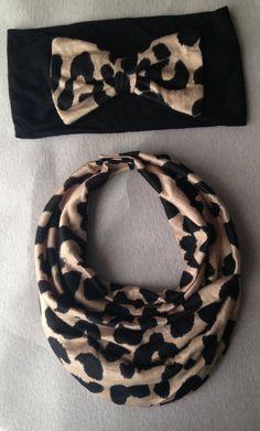 Cheetah Baby Scarf Bib & Bow Headband other by AvileeBabyCo