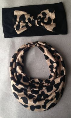 Cheetah Baby Scarf Bib & Bow Headband other by AvileeBabyCo