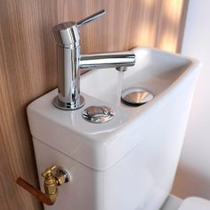 Saving water for flush with this sink? Cooke & Lewis Integrated Toilet WC and Hand Wash Basin Combo for Small Bathroom Tiny Spaces, Small Apartments, Pack Wc, Small Toilet Room, Toilette Design, Tiny Bathrooms, Bathroom Small, Bathroom Ideas, Bathroom Toilets