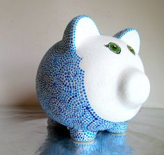 Hand Painted Piggy Bank Blue and white Dot painting
