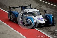 Ginetta - Nissan nr.7 in the Pit Lane of Imola circuit during Saturday Practice session in LMP3 category of the European Le Mans Series. This prototype was driven in the italian racing event 2015 by Rob Garofall and Morten Dons.
